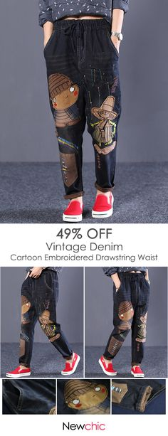 Cartoon Embroidered Drawstring Waist Vintage Denim is a trendy, Newchic provides wide range of best cheap Denim & Jeans for you. Vintage Denim, Vintage Fashion, Vintage Style, Good And Cheap, Polka Dot Print, Grunge Fashion, Refashion, Drawstring Waist, Parachute Pants