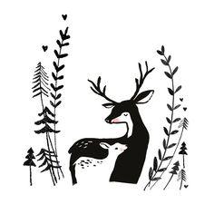 Postkaart   Deer love   Marieke ten Berge   Vier Papier