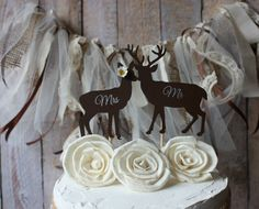 Deer hunter-Buck and doe wedding cake topper-Deer hunting wedding cake topper-hunting-country western-deer-wedding cake topper on Etsy, $16.99