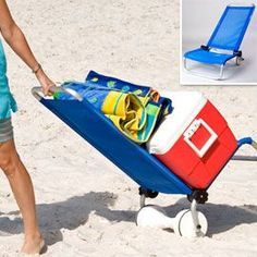 Lounger, chair and beach cart in one! I need this!