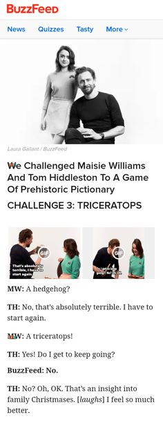 We Challenged Maisie Williams And Tom Hiddleston To A Game Of Prehistoric Pictionary. Link: https://www.buzzfeed.com/eleanorbate/tom-hiddleston-maisie-williams-early-man-interview?utm_term=.yuvorYANQj#.hoJV5nJlWg #TomHiddleston #MaisieWilliams #LordNooth #EarlyMan