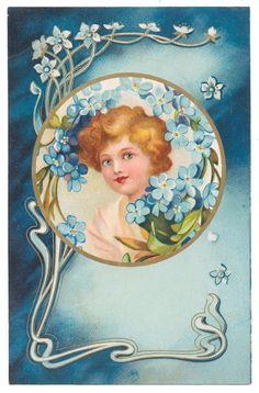 Kopal Ellen Clapsaddle - Pretty Girl with Forget-Me-Nots, Art Nouveau Trim