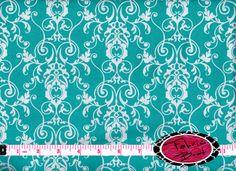 Designer Fabric by the yard CHERISH SCROLL Aqua by FabricBrat, $7.49