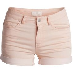 PIECES Just Jute Shorts ($19) ❤ liked on Polyvore featuring shorts, bottoms, pants, short, tropical peach, fold over shorts and short shorts