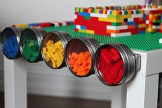 There's a place for every brick. Here are 15 cool and functional ways to organize LEGO range from a DIY LEGO table LEGO storage ideas that include bins from The Container Store. Ikea Hacks, Ikea Hack Storage, Storage Ideas, Storage Solutions, Nerf Gun Storage, Lego Storage, Magnetic Storage, Wall Storage, Table Lego Ikea