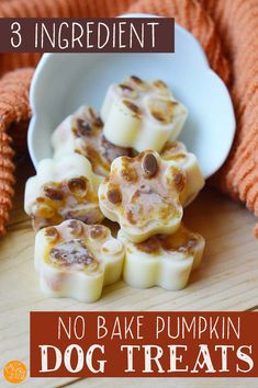 No Bake Pumpkin Dog Treats - 3 Ingredients - Make these easy no bake treats for dogs with just 3 healthy ingredients including pumpkin. Your dog - No Bake Dog Treats, Frozen Dog Treats, Puppy Treats, Healthy Dog Treats, Soft Dog Treats, Diy Dog Treats, Puppy Food, Healthy Foods, Dog Biscuit Recipes