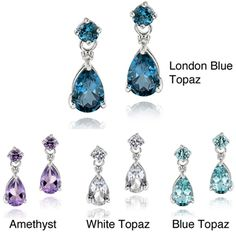 @Overstock - Bold pear-shaped gemstones in your choice of London blue topaz, amethyst, white topaz or blue topaz dangle from these classy earrings. These elegant earrings are crafted of fine sterling silver and secure with butterfly clasps.http://www.overstock.com/Jewelry-Watches/Glitzy-Rocks-Sterling-Silver-Gemstone-and-Diamond-Earrings/6719305/product.html?CID=214117 $24.99