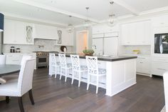 kitchen design + white barstools + kitchen island + white kitchen