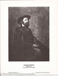 Alfred Tennyson English Poet Vintage Portrait Gallery Poster Photo Print