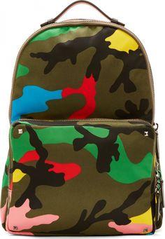 Valentino Military Green Multicolor Camo Backpack