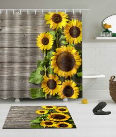 100% Polyester Sun Sunflower Bathroom Decor Shower Curtain +Hooks /Bath Mat  Rug #