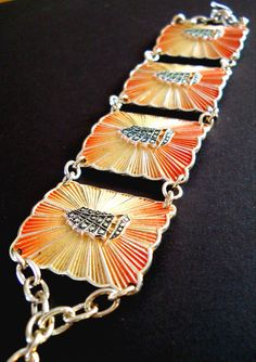 Eloxal Bracelet Vintage Orange Yellow Sunburst by RenaissanceFair, $38.00