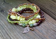 New Jade and Dark Wood Stretch Stacking Bracelets by Angelof2