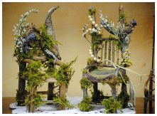 Fairy Furniture Made From Twigs... Made Out Of Sheer Fabric Tied Where The