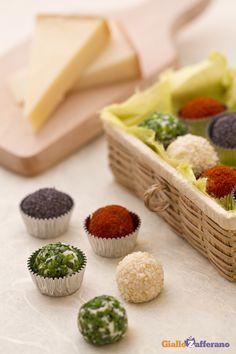 Tartufini di formaggio ai 4 colori: rendi più allegro e gustoso il tuo aperitivo di Carnevale!  [Cheese truffles]
