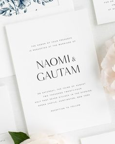 An accented, modern serif mixed with a simple sans serif creates a fresh and clean feel for these wedding invitations. Shown in black with a garden rose envelope liner and belly band, both in navy. Shine Wedding Invitations, Free Wedding Invitation Samples, Invitation Envelopes, Wedding Invitation Suite, Invites, Wedding Invitation Inspiration, Invitation Ideas, Wedding Stationary, Perfect Wedding