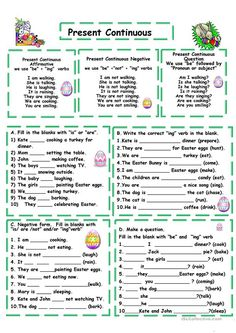 An elementary text suitable to teach Present Continuous Tense with reading comprehension and sentence building using this verb tense. Grammar: Present continuous. English Grammar Tenses, Grammar Quiz, Grammar Practice, English Grammar Worksheets, English Verbs, Grammar Lessons, English Vocabulary, Spanish Worksheets, Present Continuous Worksheet