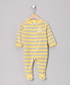 Take a look at this Gray & Yellow Winnie the Pooh Velour Wrap Footie by Disney on #zulily today!