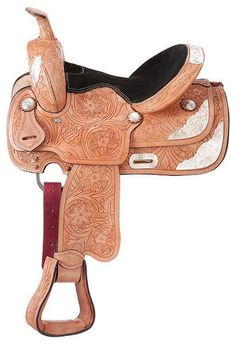 "10"" Light Oil Show Saddle- Floral Tooling (Loaded with Silver) by Royal King #RoyalKing"