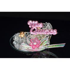 Zapatito Cenicienta de cristal en base de espejo * Fav_013 - Centros de Mesas y Recuerdos - E & C The Twins