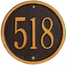 One-Line Petite Round Wall Address Plaque - Wall Address Plaques - Address Plaques - Outdoor   HomeDecorators.com