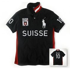 Ralph Lauren Big Pony RUISSE Symbol Flag Red Black Sporty Polo [rl 255] -