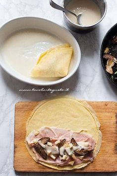 Ham and mushroom crepes (Easy and tasty recipe! Crepes, Cooking Time, Cooking Recipes, Banana Pudding Recipes, Crepe Recipes, Prosciutto, Italian Recipes, Food To Make, Stuffed Mushrooms