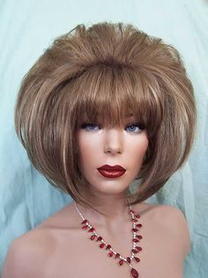Wig, Chin Length Beehive, drag wig, Kanekalon Synthetic fiber, dark blonde mix.