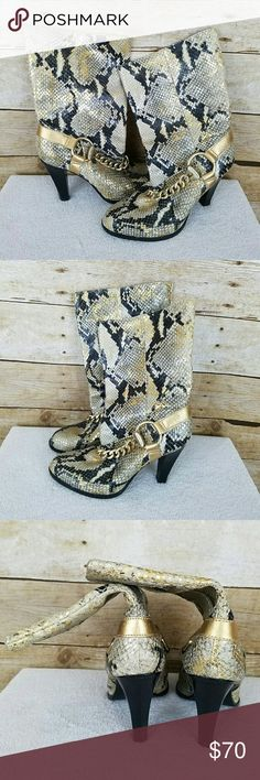 Michael Kors Snakeskin Boots Women's Michael Kors Snakeskin Pull On Boots  Size 5.5  Gently used GUC- Minor/normal sole wear MICHAEL Michael Kors Shoes Ankle Boots & Booties