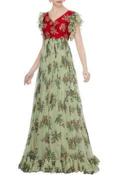 Best 10 Buy Red raw silk zardozi hand embroidered & chiffon gown by Mrunalini Rao at Aza Fashions Designer Anarkali Dresses, Designer Party Wear Dresses, Long Gown Dress, Chiffon Dress Long, Frock Fashion, Fashion Dresses, Frocks And Gowns, Mrunalini Rao, Long Dress Design