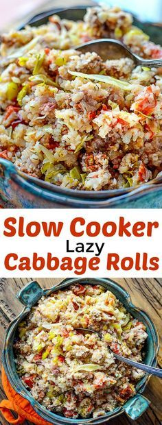 ♡SUBSTITUTE RICE WITH CAULIFLOWER RICE ♡ . . . slow-cooker-lazy-cabbbage-rolls-recipe