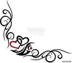 """Laden Sie den lizenzfreien Vektor """"Herz, Liebe, love, Valentin, tattoo, design element, Ranke"""" von christine krahl zum günstigen Preis auf Fotolia.com herunter. Stöbern Sie in unserer Bilddatenbank und finden Sie schnell das perfekte Stockbild für Ihr Marketing-Projekt!"""