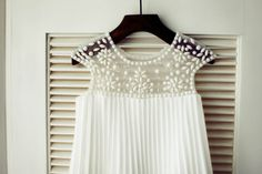 Ivory Pleated Chiffon Cap Sleeves Beaded Tulle by knothouses