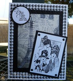Hand made Birthday Card - Friends in Paris (Vintage inspired) Black and White