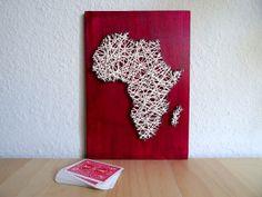 Afrika Landkarte aus Kordel auf Holz  30x21cm  von BeauGrandMonde, €22.50