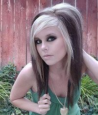 Black Hair With Blonde Streaks | blue or orange streaks on jet black hair make it a perfect emo ...