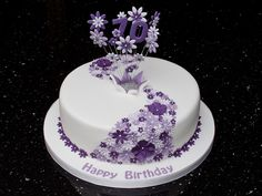 70th Lilac Flower Cake Simple Birthday DesignsBirthday Cakes For Women90th