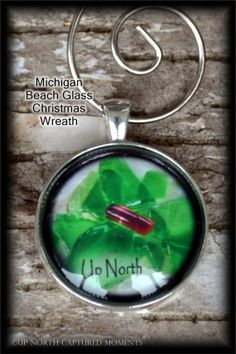 "Michigan Beach Glass Wreath -  'Up North"" Christmas Ornament"
