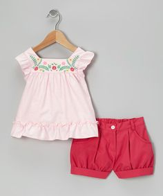 Take a look at this Pink Embroidered Ruffle Tunic & Magenta Shorts - Infant & Toddler by Petit Confection on #zulily today!