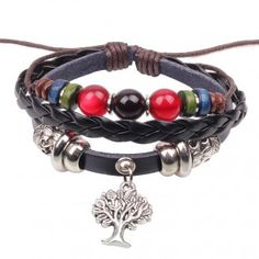TREE. Leather charm bracelet with colorful beads. Unisex