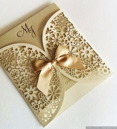 Must see GOLD wedding invitations with ribbon and monogram letterpress, laser cut wedding invitations, eleagnt wedding invites, luxury wedding theme for fall or spring Quince Invitations, Laser Cut Wedding Invitations, Wedding Invitation Cards, Wedding Stationery, Wedding Cards, Gold Wedding, Diy Wedding, Dream Wedding, Wedding Day