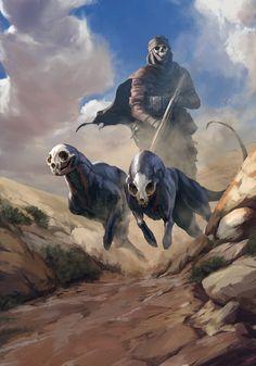 Hounds by artist Vadim Kalabukh. Creature Concept Art, Creature Design, Mythical Creatures Art, Fantasy Creatures, Arte Horror, Art Station, Art Et Illustration, Monster Art, Dark Fantasy Art