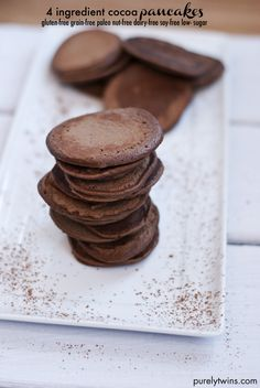 4 ingredient cocoa pancakes that are grain-free, gluten-free, paleo, low-sugar, nut-free, dairy-free and soy-free. Add these to your Valentine's Day recipe list! | purelytwins.com