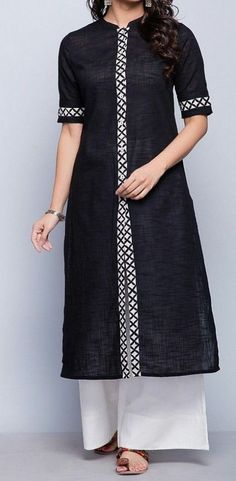 Cotton Slub FabricDischarge BorderChinese Collar with SleevesA-line FitHand Wash Separately in Cold Water Kurti Sleeves Design, Kurta Neck Design, Sleeves Designs For Dresses, Dress Neck Designs, Blouse Designs, Sleeve Designs, Kurthas Designs, Neck Designs For Suits, Simple Kurti Designs