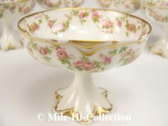 Limoges Haviland Schleiger 270 Punch Cup Pink Roses with Gold trims