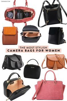 The most stylish camera bags for women. A guide to the best leather camera bag, crossbody camera bag, camera backpack, mirrorless camera bag, and more. Stylish Camera Backpack, Camera Bag Backpack, Dslr Camera Bag, Camera Gear, Camera Hacks, Camera Insert For Backpack, Cute Camera Bag, Fashion Backpack, Canon Dslr