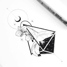 """""""Night orchids"""" by Tattoo Sketches, Tattoo Drawings, Art Sketches, Cresent Moon Drawing, Tattoo Studio, Stylo Art, Black And White Illustration, Ink Illustrations, Pen Art"""