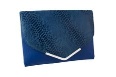 Fold Over oversize clutch bag with blue Genuine Leather and patent snake print Oversized Clutch, Snake Print, Clutch Bag, Fashion Forward, Royal Blue, Range, Leather, Design, In Trend