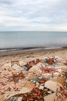 """laundry basket quilts -- Lake Michigan --- """"This quiet time on the beach is perfect to spread a quilt"""" Laundry Basket Quilts, Laundry Baskets, Big Lake, Sticks And Stones, Star Quilts, Soft Surroundings, Lake Michigan, Vintage Quilts, Camel"""