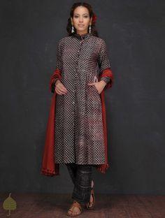 Buy Black Ecru Madder Ajrakh printed Button down Cotton Kurta by Jaypore Women Kurtas Experiments dresses and pants Online at Jaypore.com